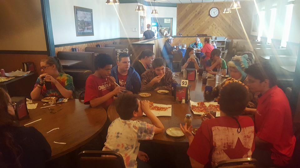 While working the Missouri Slope Shrine Circus in Bismarck on April 1-2, 2016, Rainbow invited DeMolay to dinner at A&B Pizza in between shows.