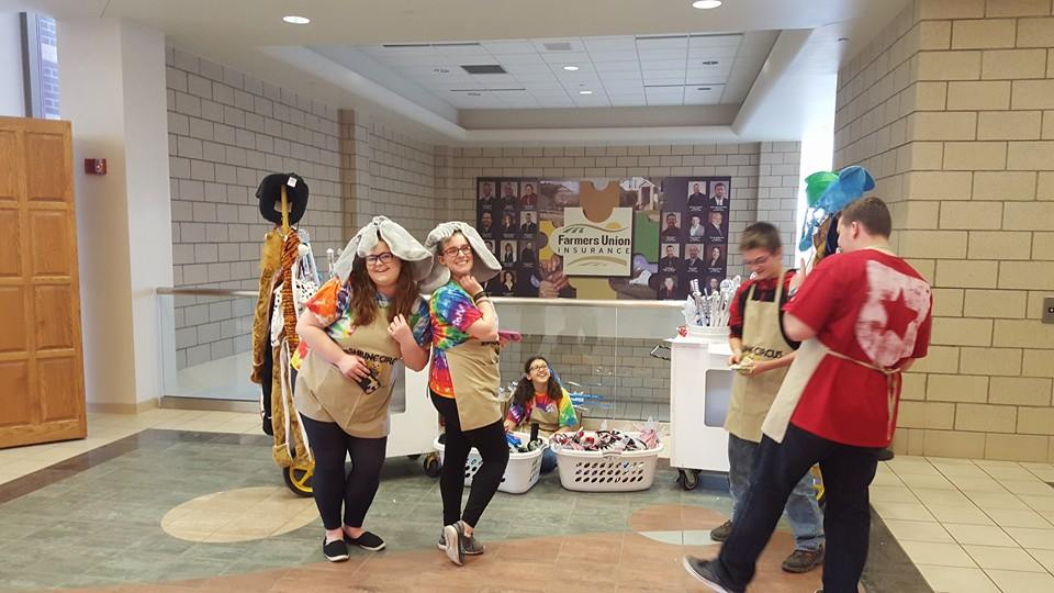 Bison Bunch Club of ND DeMolay having fun selling novelties with the Rainbow for Girls' Bismarck Assembly 3 at the 2016 Bismarck/Mandan Shrine Circus.
