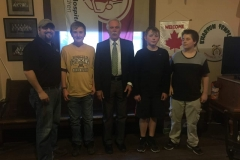Ivanhoe Chapter DeMolay and Chapter Dad with Sr DeMolay, Ed Schafer, former US Sec of Agriculture, former Governor of ND, and interim President of UND.